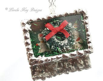 Tiny Wreath Necklace Winter Holiday Christmas Necklace Soldered Box Mixed Media One-of-a-Kind Diorama Pendant
