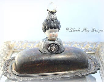 Pass The Butter Dish Whimsical Art Doll Butter Dish Art Doll Silver Fancy Rhinestone Serving Piece Butter Dish
