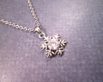 Cubic Zirconia Snowflake Necklace, White Crystal Rhinestone Pendant, Silver Chain Necklace, FREE Shipping U.S.
