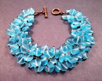 Aqua Heart Bracelet, Cha Cha Style Bracelet, Frosty Blue and Brass Charm Bracelet, FREE Shipping U.S.