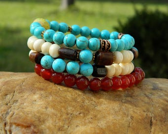 Turquoise Magnesite and Carnelian Gemstones Boho Stretch Bracelets
