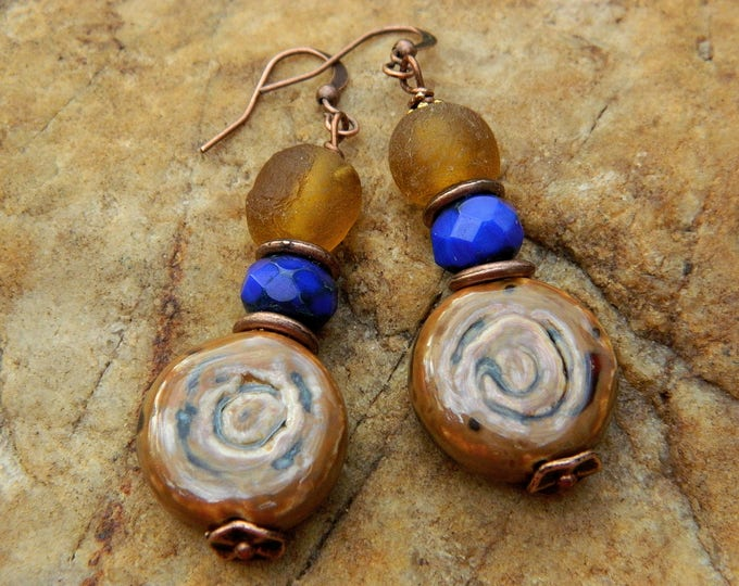 Featured listing image: Stoneware Clay Bead Dangling Earrings