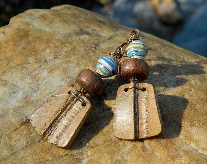 Featured listing image: Paper Bead and Wood Bead Boho Earrings