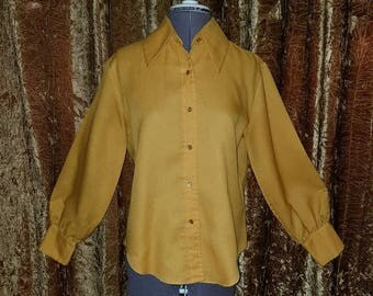 30% OFF Vintage 1960's Mustard Yellow Bishop Sleeves Blouse Top M/L
