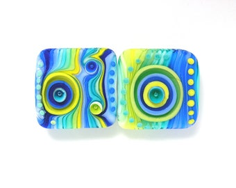 Michal S- Glass Art Lampwork bracelet square bead set (2) ready to ship