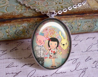 Three Little Friends, mixed media, art pendants, only 5 pendants made of each design, whimsy,bunny, pig, little girl
