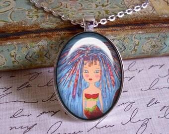 Mermaid pendant, original art, mixed media art, Ready To Ship, mermaid pendants, mermaid jewelry,mermaids, mermaid pendants