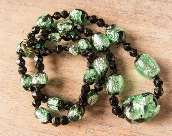 Vintage Antique Venetian 1920s to 1930s Mint Green Foil Handmade Glass Bead Graduated Necklace - Restrung - 20 Inches Long