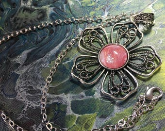 Made with Paint Large Ornate  Flower Pendant in Pink and White