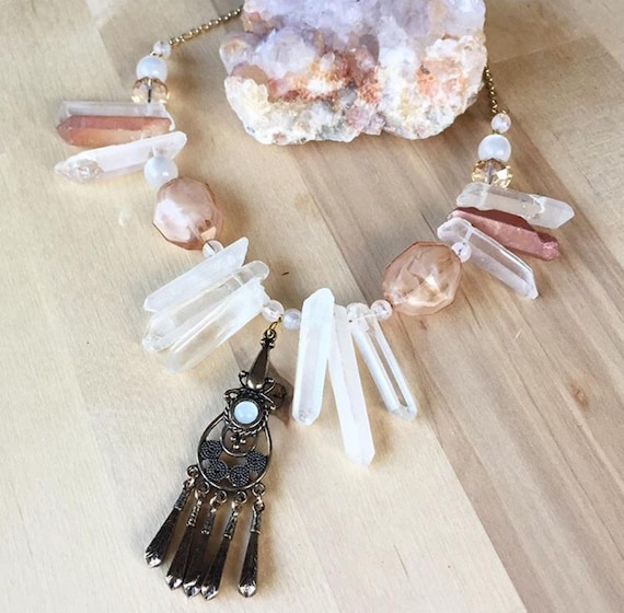 Lynda Necklace Bronze and Peach  Mixed Media Crystal and Stone Statement Necklace