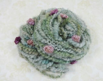 Handspun Art Yarn with Wool Roses 36 yards Fleece Spun dusty blue green burgundy pink