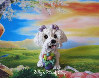 READY to SHIP! One of a Kind Maltese dog with Easter Eggs hand sculpted by Sally's Bits of Clay