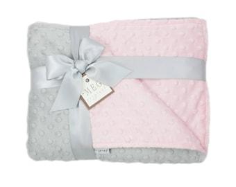Pink & Gray Minky Dot Baby Girl Crib Blanket, 6777