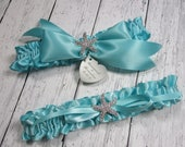 Personalized Robin's Egg Blue Beach Wedding Garter Set with a Rhinestone Starfish and Engraving