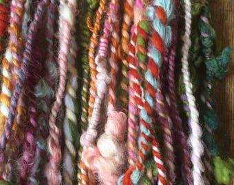 Bippity Boppity Boo, wild art yarn, 30 yards, multicolored textured art yarn, handspun, bulky wild yarn, JUMBO yarn