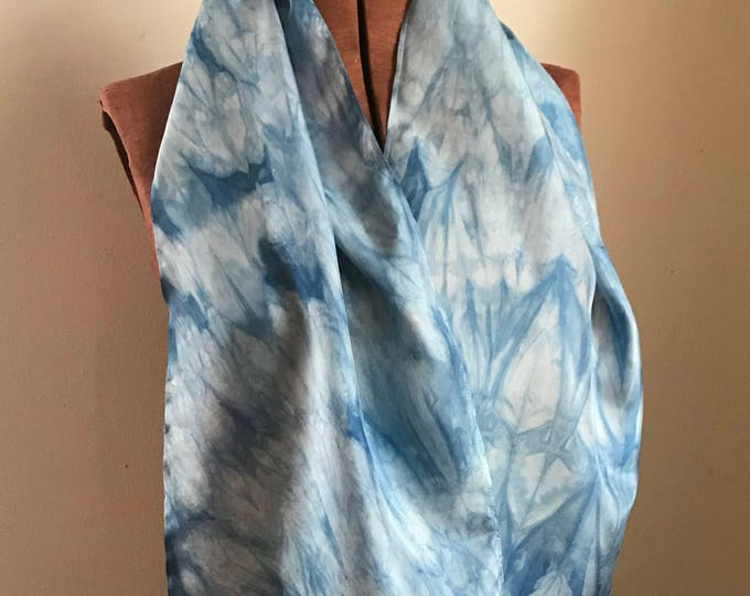 Indigo naturally dyed silk scarf