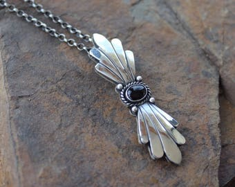 Sterling silver, onyx, handmade artisan pendant and chain, you choose the length.