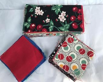 "Vintage Fabric Squares Quilt Quilting Cut 3 x 3"" & 3 x 6"" Blocks Cotton 150+"