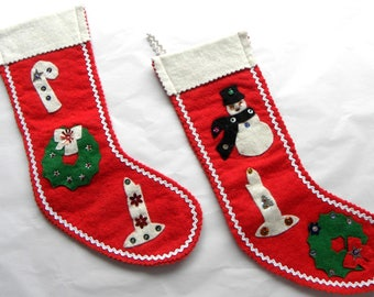 2 Vintage Christmas Stockings Red Wool Felt with Sequin Accents Candy Canes Wreaths and Candlesticks Rick Rack Trim Small 11 inch