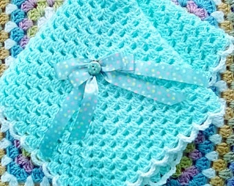 """Reborn Baby Doll Blanket, Hand Crochet, Beautiful sea glass turquoise 16"""" square"""