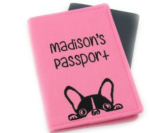 Pink Cute Dog with Personalized Name Passport Cover, Monogram Passport, Embroidered Passport Cover, Passport Holder, Pug, Boston Terrier Dog