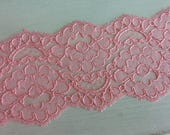 """CORAL/SALMON 3.5"""" Wide Non-Stretch Lace - 2 yards"""