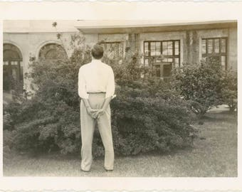 vintage photo 1950 Man from Back Abstract Hands behind him Ponders Bush Unusual Gay Int
