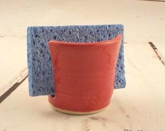 Ceramic Sponge Holder - Stoneware Paper Napkin Caddy - Handmade Sponge Drying Bowl - Kitchen Essential - Ready to Ship - Tomato Red h488
