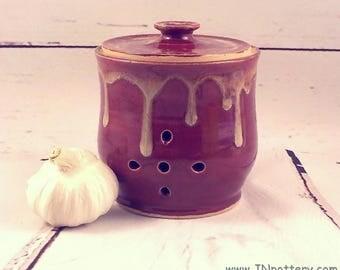 Shallot or Garlic Storage Jar - Handmade Ceramic Pierced Canister - Lidded Kitchen Storage - Ready to Ship - Brick Red / Creamy Drips  s517
