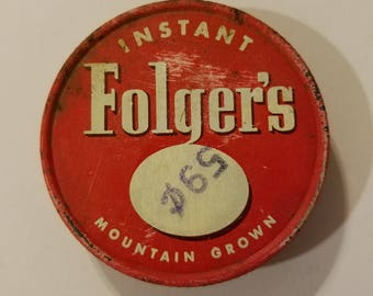 rare extra small folger's instant coffee jar lid metal advertising lid red vintage instant coffee mountain grown rustic primitive americana