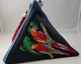 Triangle Wristlet Handbag with machine embroidered Red Parrots
