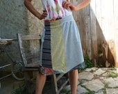 Multicoloured jersey cotton skirt size 40/44 - UK Size 12/16 – US size 8/12 (stretch jersey waistband)