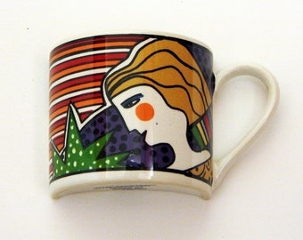 Vintage Mosaic Half Cup Vitromaster Artsy Metropolitan Art Deco Face Broken China Tiles