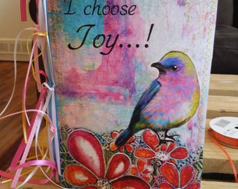 Today I choose Joy  9 x 6 inch handmade art journal 140lb Watercolor paper