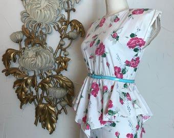 1980s dress peplum dress cotton dress summer dress 80s does the 40s size medium Vintage dress Byer too dress