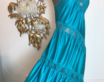 1970s nightgown teal nightgown asymmetrical nightgown size medium vintage nightgown sheer nightgown turquoise nightgown
