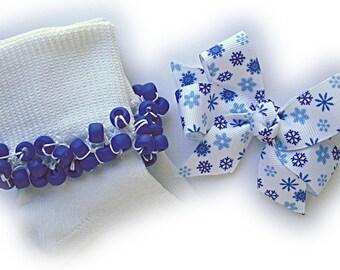 Kathy's Beaded Socks - Royal Blue Snowflakes Socks and Hairbow, girls socks, pony bead socks, royal blue sock, snowflake socks, school socks