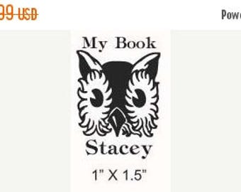 Super Summer Sale Storybook Owl Childrens Custom  Rubber Stamp Bookplate Ex Libris E26