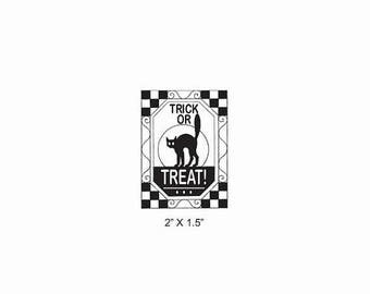 Xmas in July Black Cat Trick or Treat Halloween Rubber Stamp 523