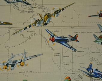 Vintage fabric Hawaiian Remnants WW2 fighter planes woody vans
