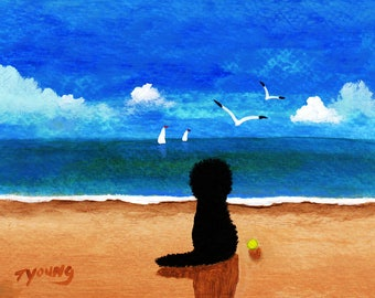 Black Labradoodle Dog Folk art print by Todd Young At The Beach