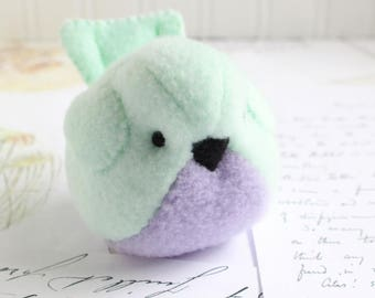 Mint and Lavender Kawaii Plush Bird Handmade Bird Stuffed Animal Plush Bird Mint Green Bubbletime Plush Fleece Bird