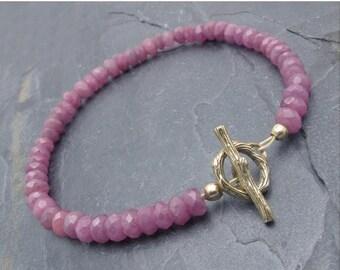 ruby bracelet, Valentine gift for her, July birthstone, ruby gift, Valentine girt, gemstone bracelet, ruby jewelry, July birthstone gift,