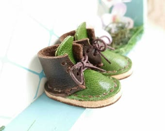 Lace Up Shoes Mini Leather Dark Chocolate Avocado Green Lace Up Boots For Neo Blythe Doll Azone Pure Neemo M S Body Hand Made By MizuSGarden