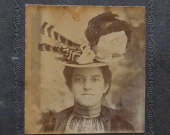 Vintage Paper Frame Photograph Portrait Woman in Large Hat