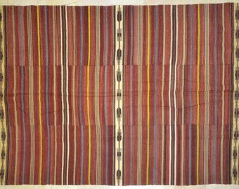 Kilim Rug 5.5' x 9.5' Dark Red Multicolor Stripe Wool Vintage