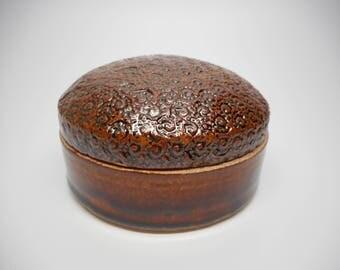 Trinket Jar Amber Stamped