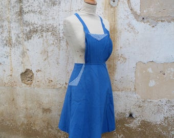 Vintage French 1920/1930s blue cotton chore  apron  2 pockets /worker wear/Farm/countryside