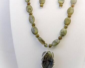 Labradorite Necklace, Earrings, and Pendant Set