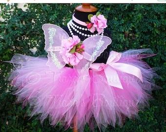 SUMMER SALE 20% OFF Baby Tutu Butterfly Wings - Pink Tutu - 1st Birthday Girl Tutu Set - Sewn 8'' Pixie Tutu Fairy Wings & Headband
